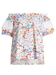 Peter Pilotto Abstract Print Off The Shoulder Cotton Blend Top White Multi