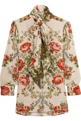 Gucci For Net A Porter Pussy Bow Floral Print Silk Blouse Ivory Green