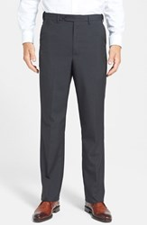 Men's Big And Tall Berle Self Sizer Waist Tropical Weight Flat Front Trousers Charcoal