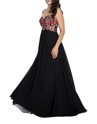 Decode 1.8 Strapless Embroidered Gown Black Red