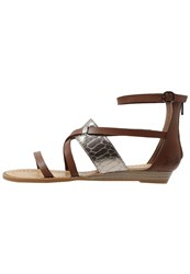 Blowfish Badot Wedge Sandals Whiskey Pewter Dark Brown