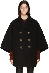 Burberry Black Felted Wool Poncho Coat