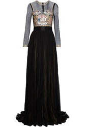 Catherine Deane Jocelyn Embroidered Tulle Paneled Pleated Silk Chiffon Gown Black