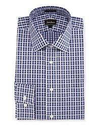 Neiman Marcus Classic Fit Regular Finish Plaid Dress Shirt Blue