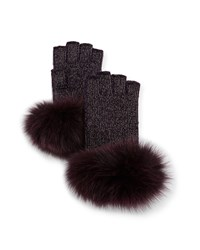 Sofia Cashmere Lurex Knit Fingerless Gloves W Fur Cuffs Purple