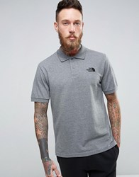 The North Face Pique Polo In Mid Gray Heather Gray