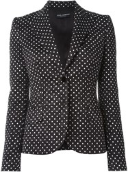 Dolce And Gabbana Polka Dot Embroidered Blazer Black