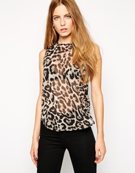 Ax Paris Sleeveless Top In Animal Brown