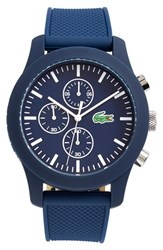 Men's Lacoste '12.12' Chronograph Silicone Strap Watch 44Mm Blue