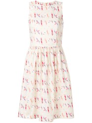 Ultrachic Printed Flared Dress Nude And Neutrals