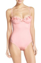 Women's Kate Spade New York 'Playa De Palma' Floral Applique Underwire One Piece Swimsuit Pastry Pink