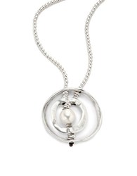 Uno De 50 Pearl And Hammered Metal Pendant Necklace Silver