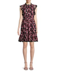 Kate Spade Floral Embroidered Dress W Scalloped Trim Black