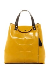 Orla Kiely Embossed Stem Leather Duffle Backpack Yellow