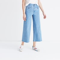 Madewell Tall Wide Leg Crop Jeans In Edgeley Wash Welt Pocket Edition