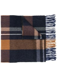 Begg And Co Checked Fringed Scarf Blue
