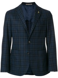 Paoloni Checked Suit Jacket Virgin Wool Polyamide Other Fibres Viscose Blue