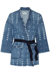 Current Elliott The Kimono Printed Stretch Denim Jacket Mid Denim