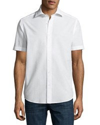 Neiman Marcus Seersucker Short Sleeve Sport Shirt White