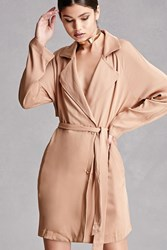 Forever 21 Double Breasted Trench Coat Taupe