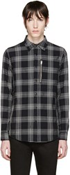 R 13 Black Plaid Zip Shirt