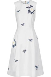 Draper James Embellished Silk And Cotton Blend Dress Off White