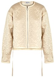Elizabeth And James Daisy Champagne Quilted Silk Jacket Beige