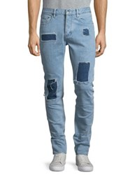 Laboratory Lt Man Distressed Patch Accented Jeans Blue