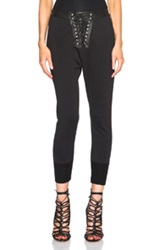 Unravel Lace Front Cotton And Leather Sweatpants In Black