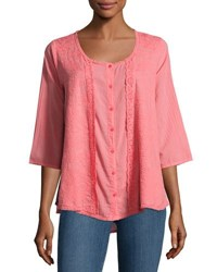 Johnny Was 3 4 Sleeve Embroidered Top Pink