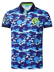 Bunker Mentality Pattern Polo Regular Fit Polo Shirt Blue