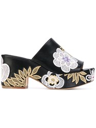 Laurence Dacade Floral Patches Platform Sandals Women Cotton Calf Leather Leather 39 Black