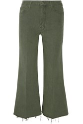 Mother The Roller Cropped Mid Rise Flared Jeans Army Green