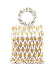 Rosantica By Michela Panero Jules Small Beaded Clutch Yellow White