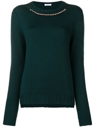 P.A.R.O.S.H. Embellished Collar Jumper Green