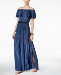 Inc International Concepts Petite Off The Shoulder Indigo Wash Maxi Dress Only At Macy's