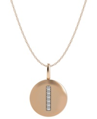 Macy's 14K Rose Gold Necklace Diamond Accent Letter I Disk Pendant