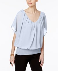 Joseph A Dolman Sleeve Chiffon Top Chambray Blue