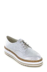 Summit Women's Belinda Platform Oxford Silver Metallic Leather
