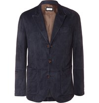 Brunello Cucinelli Navy Slim Fit Suede Blazer Blue