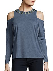 Romeo And Juliet Couture Embellished Cold Shoulder Top Heather Oatmeal
