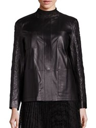 Lafayette 148 New York Holland Embroidered Leather Jacket Black