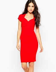 Jessica Wright Sally Pencil Dress With Sweetheart Neckline Red