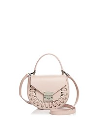 Aqua Stitched Leather Saddle Bag 100 Exclusive Cipria Pink Silver
