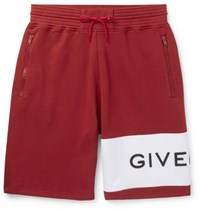 Givenchy Logo Embroidered Loopback Cotton Jersey Drawstring Shorts Red