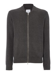 Peter Werth Men's Carr Chunky Cotton Zip Through Bomber Charcoal