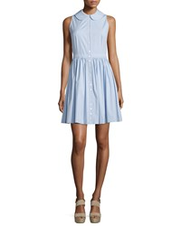 Michael Kors Sleeveless Collared Shirtdress Sky Blue