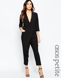 Asos Petite Tuxedo Jumpsuit With Wrap Front And Long Sleeves Black