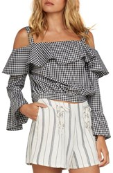 Willow And Clay Gingham Cold Shoulder Top Black
