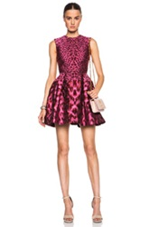 Alexander Mcqueen Leopard Jacquard Dress In Pink Metallics Animal Print